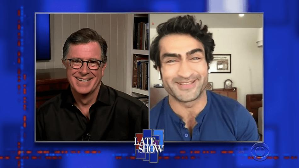Kumail Nanjiani and Stephen Colbert
